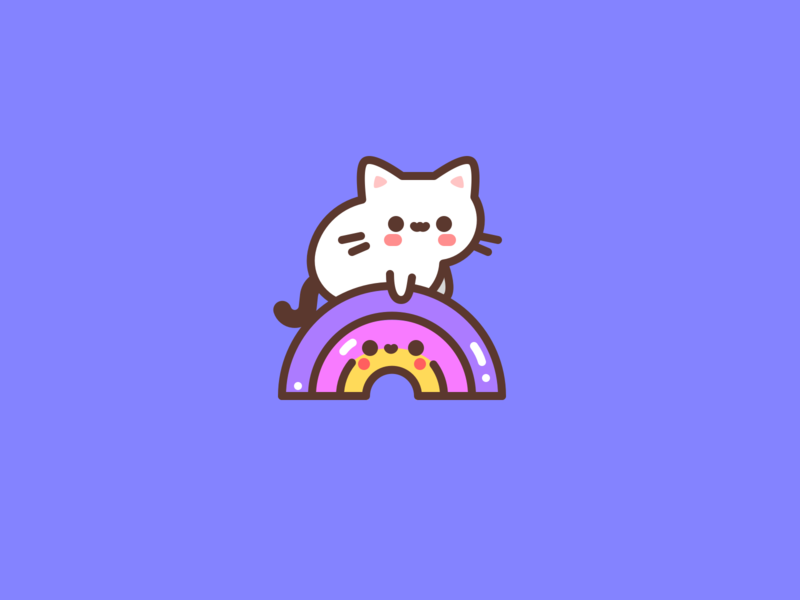 Over the Rainbow kawaii kitten rainbow cat cute animal character design icon flat illustrator vector illustration