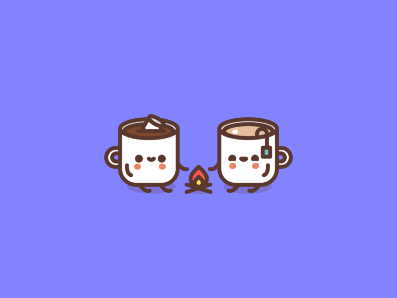 Hot drinks for cold days. cute character design icon flat illustrator vector illustration coffee tea marshmallow hot chocolate