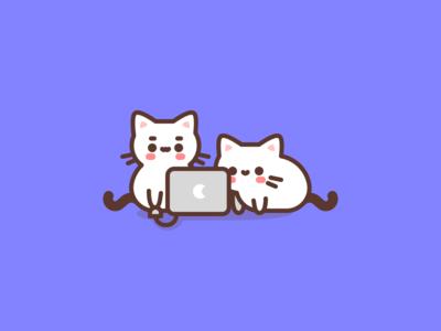 Pair programming computer programming cat cute animal character design flat illustrator vector illustration
