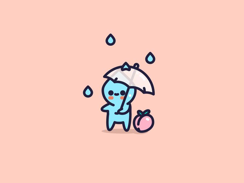 Rainy Day peach fruit rain icon cute character flat design illustrator vector illustration