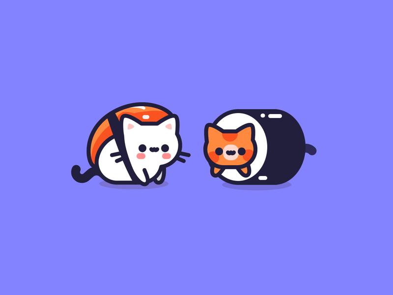 Japanese Delicatessen maki sushi flat design animal icon vector illustrator illustration character kitten cat cute japan