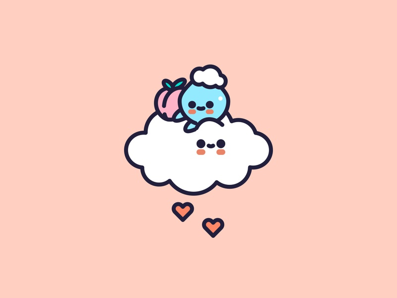 There is so much love in the air. cloud kawaii peach fruit icons cute character icon flat design illustrator vector illustration