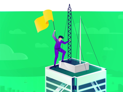 SVG Lottie Animation 2d illustration anim branding flat motion svg wind skyscrapper building after effect animation flag