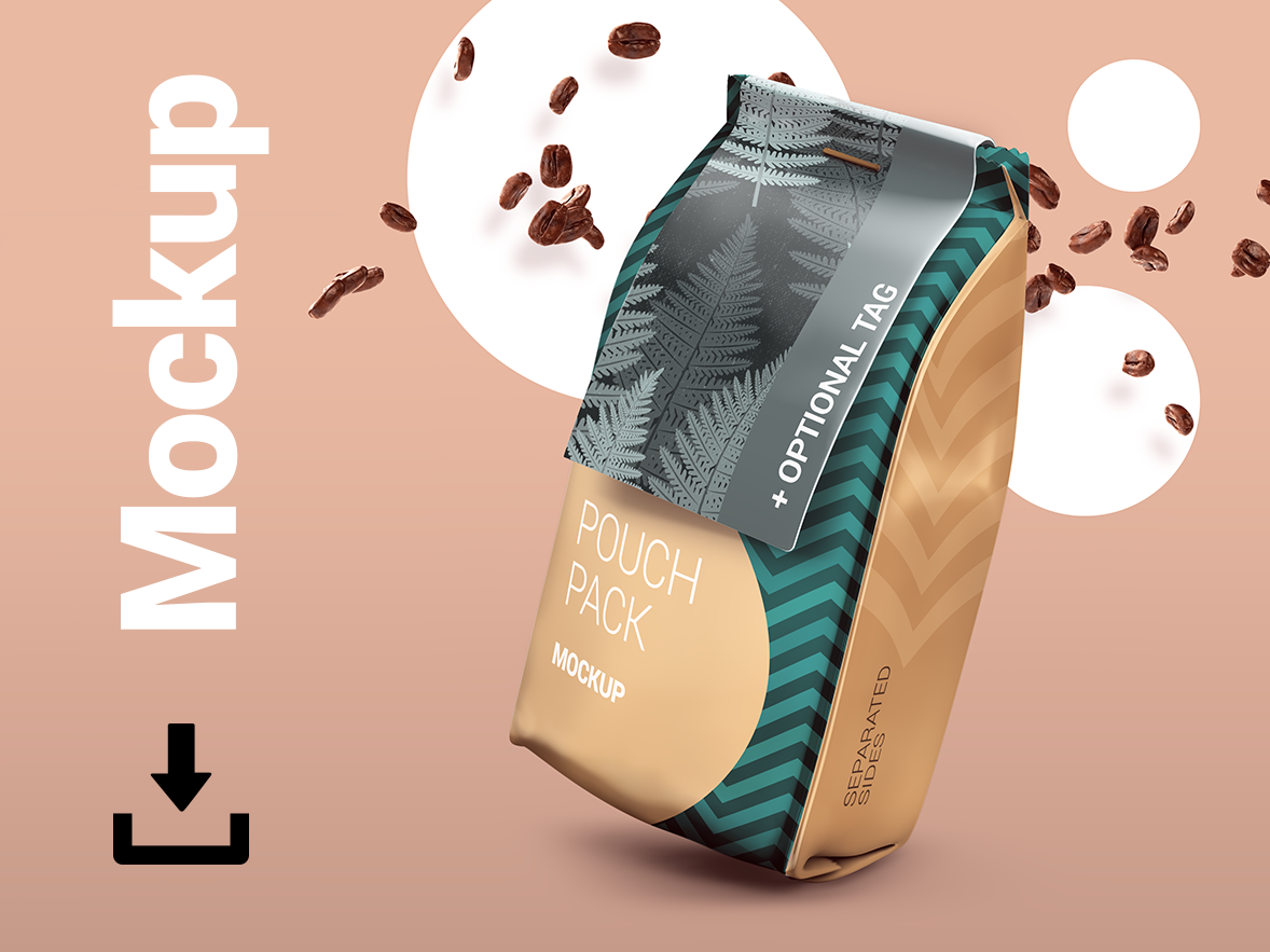Plastic/Paper Pouch Pack Mock-Up shiny sack sachet product mockup plastic bag packet packaging package design mockup matt bag glossy food bag dramatic doypack doy container coffee beans coffee bag coffee bag
