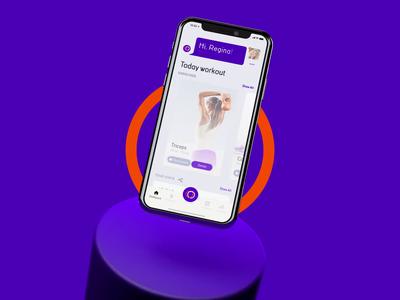 Fitness App explainer iphone clean woman sport workout health artificial intelligence anim ux logo branding application app 3d ui cinema4d c4d motion animation
