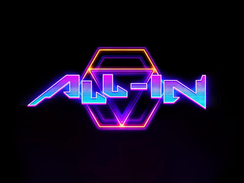 All-in Logo icon web app typography illustration game logo game neon vector logo design 3d branding c4d cinema4d