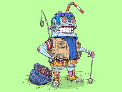 """Litter Boy"" Character Design litter recycle eco character lumps illustrator illustration design"