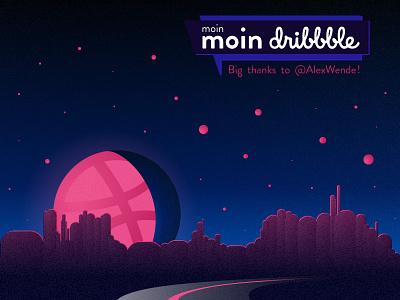 moinmoin dribbble debut thanks roadtrip night moon landscape dark hello dribbble first shot
