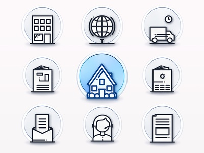 Iconset white light identity icon design corporate branding outlines house boutton ios icons icon