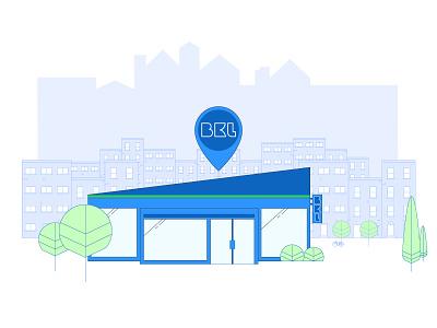 City shopping at BKL tree gps local buy shop brand illustration store city