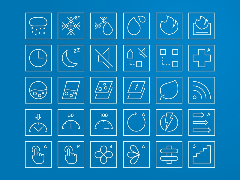 Outline Icon Set minimal fire heat sound temperature outline performance motor geometric iconography icon set icon sets iconsets iconset