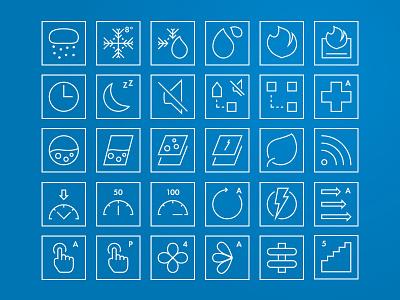 Outline Icon Set minimal fire heat sound temperature outline performance motor geometric iconography icon set icon sets iconsets iconset