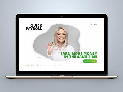 Quick Payroll bitbucket bitcoin exchange slider design slider teaser material design ui ux user dribbble page design landing page concept landing design landing page money bitcoin branding