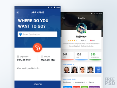 Free PSD - Traveling Mobile App android ios search interface visual design ux ui traveling profile app mobile