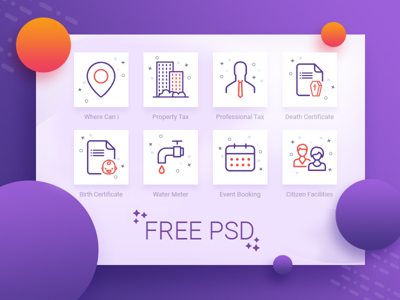 Onboarding illustrations - Icons psd free meter booking certificate tax app intro graphics onboarding guide-screen icons