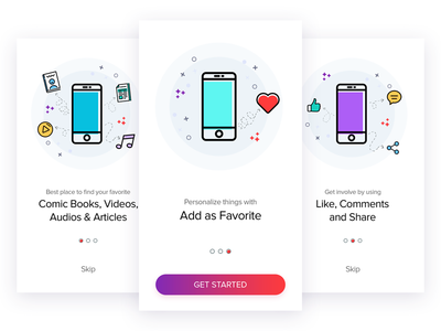 Onboarding Illustrations app intro graphics user-experience prototype onboarding guide-screen ui ux registration icons