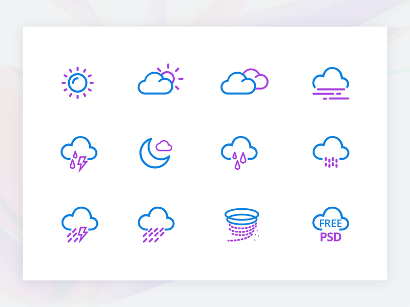 Free Weather Icon Set sun rain onboarding illustrations ai icons weather two color vector free psd svg