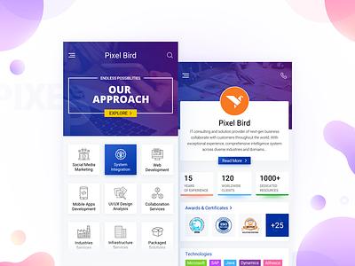 PixelBird Corporate Mobile App profile corporate app ux ui interaction pixelbird company creative application dashboard it