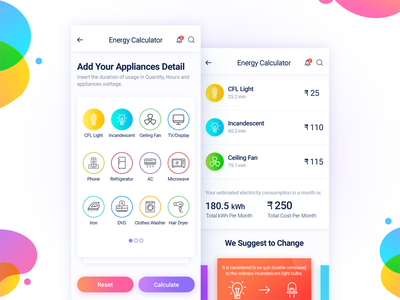 Energy Calculator Mobile App electricity appliances savings iphonex ui ux interface color icons consumption calculator energy