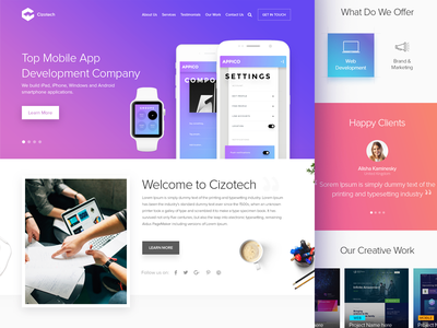 Cizotech Landing Page Design template layout homepage creative corporate company website web design ui ux user interface user experience