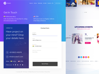 Cizotech Contact Us Page Design user interface user experience landing page website creative corporate interaction ui ux layout contact us homepage