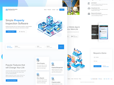 Landing Page Property Inspection property web design ux user interface user experience ui template layout homepage creative building illustration