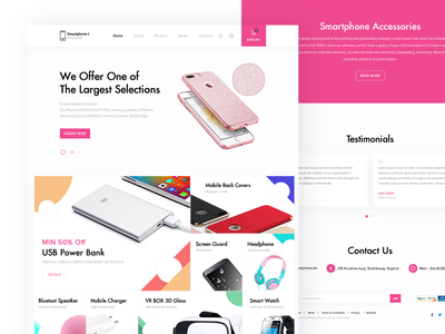 Smartphone Accessories Landing Page illustration landing page ui ux web website layout smartphone accessories mobile store