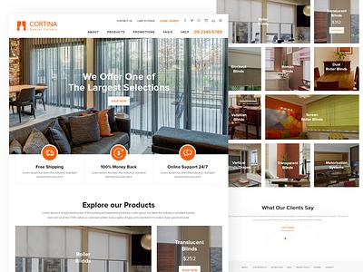 "Landing Page ""Cortina Eyelet Curtain"" web ux interface experience user ui layout homepage creative ecommerce interlar curtain"