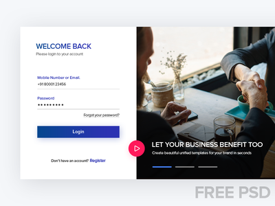 FREE PSD Login & Register layout page web ux ui vector clear popup psd free register login