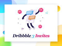 3 Dribbble Invites game color design victory shot player two invites invitation dribbble draft debut