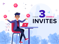 3 Dribbble Invites mobile app icon interface design ux ui typography vector illustration