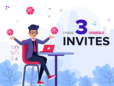 3 Dribbble Invites mobile app icon interface design ux ui typography vector illustration