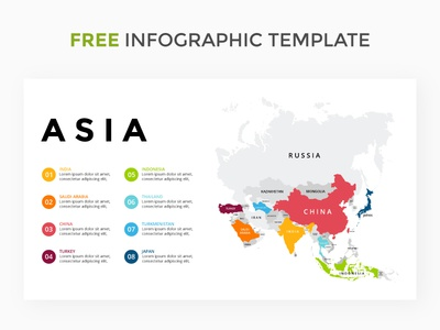 Slide with Asia map. Free infographic template. visualization data slide presentation key keynote free asia template map infographic
