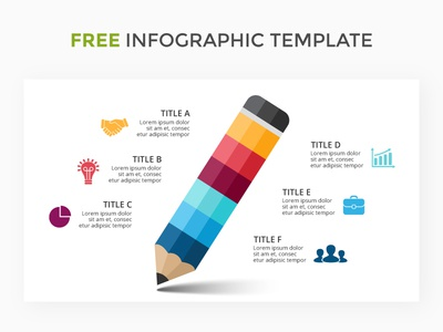 Pencil infographic. Free AI. illustrator free slide template infographic study learn write education pencil