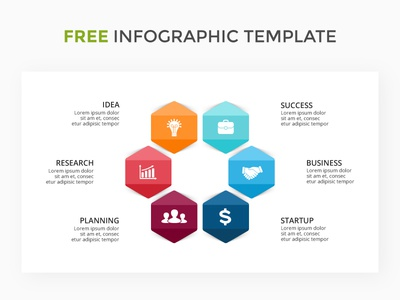 Infographic template. Free KEY. powerpoint keynote slide template infographic circle cycle diagram six hexagon