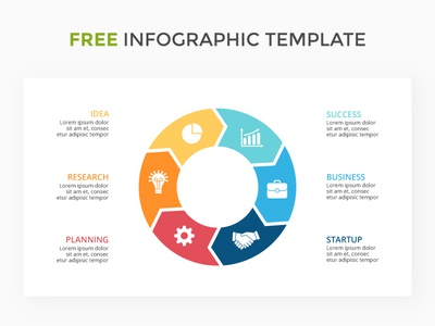 Circle arrows infographic. Free PSD. keynote powerpoint presentation slide template diagram infographic arrows cycle circle