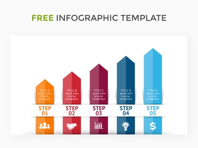 Infographic template. Free Ai. stairs business growth arrow keynote powerpoint slide template infographics diagram graph chart