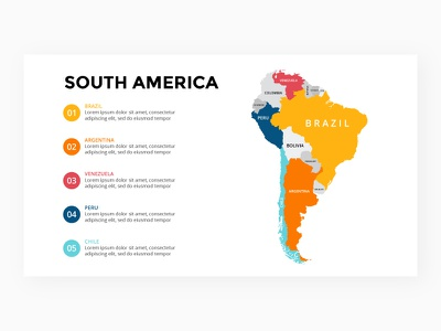 South America map. Infographic template. Free PPT. travel keynote slide powerpoint template infographic map peru argentina brazil america south