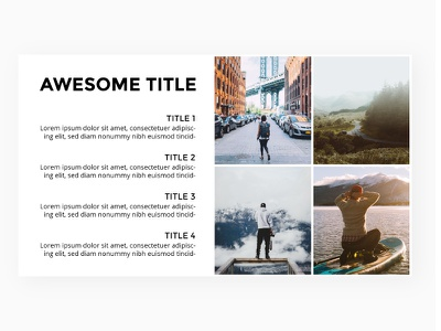 Slide template with placeholders. pitchdeck infographic keynote powerpoint presentation photo template slide