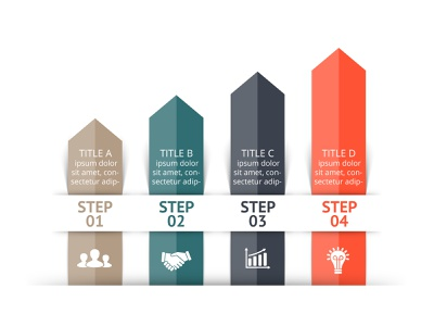 Infographic template. performance growth arrows chart diagram infographic