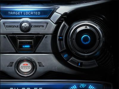 DroneCorps - Helli Ui user interface ipad iphone gui controler helicopter futuristic metalic scott kane