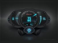 Futuristic Meters Dark User Interface
