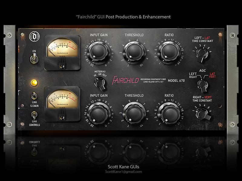 Fairchild 3D Audio GUI Post Production & Enhancement knobs 3d interface kontakt library kontakt vst audio ui graphical user interface design gui design gui