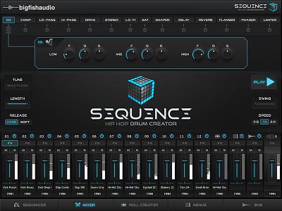 BFA Sequence Kontakt Drum Library modern flat minimal audio interface design scott kane kontakt library gui design gui design ui gui sequence kontakt