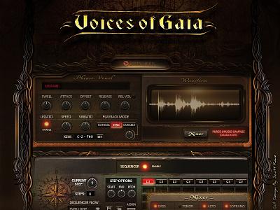 Soundiron Voices Of Gaia / Audio GUI Design website game old paper fantasy kontakt library kontakt vst audio ui graphical user interface design gui design gui