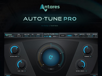 Antares AutoTune - Pro / VST Plugin Gui Design gui designer hi-tech audio graphic interface vst plugin gui design vst audio ui graphical user interface design gui design gui