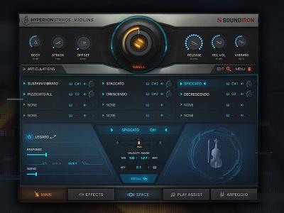 Hyperion Strings Micro VST GUI Design kontakt minimal scifi hi-tech vst user interface gui design audio ux ui scott kane