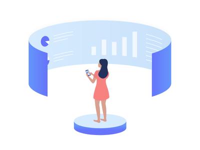 Data Visibility 📊 screen mobile data data visualisation technologies future storytelling woman character illustration isometric