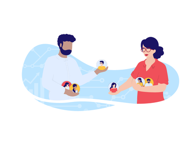 Client Management 📈🤓 sales manager hr coworkers branding boss customer client teamwork work team digital management illustrator character storytelling illustration