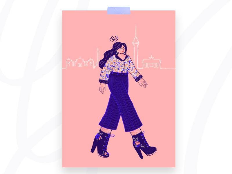 🇩🇪 German storytelling design digital skyline germany berlin abroad print procreate woman character illustration